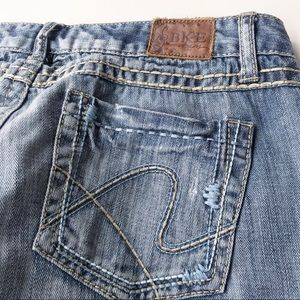 BKE Kate Jeans Boot Cut Buckle Embroidered Pockets